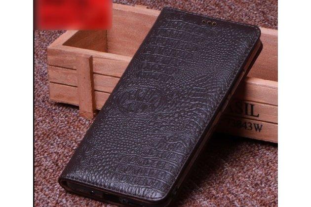 Фирменный роскошный эксклюзивный чехол с фактурной прошивкой рельефа кожи крокодила коричневый для LG G7 ThinQ / LG G7. Только в нашем магазине. Количество ограничено