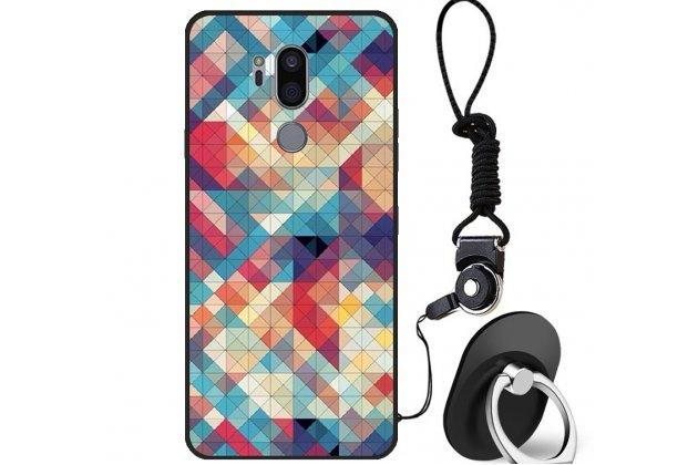 """Фирменная роскошная задняя панель-чехол-накладка  из мягкого силикона с безумно красивым расписным 3D рисунком на LG G7 ThinQ / LG G7 """"тематика Яркая Мозайка"""""""