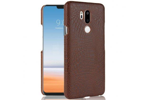 Фирменная роскошная элитная премиальная задняя панель-крышка на пластиковой основе обтянутая лаковой кожей крокодила  для LG G7 ThinQ / LG G7 коричневый