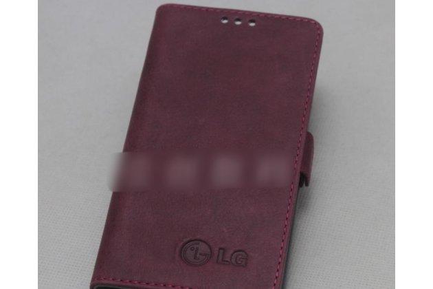 Фирменный оригинальный подлинный чехол с логотипом для LG G7 ThinQ / LG G7 из натуральной кожи красное вино