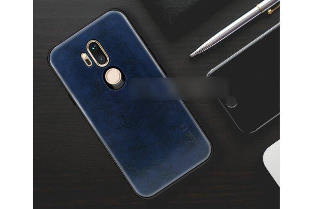 """Фирменная премиальная элитная крышка-накладка из тончайшего прочного пластика и качественной импортной кожи  для LG G7 ThinQ / LG G7 """"Ретро под старину"""" синяя"""