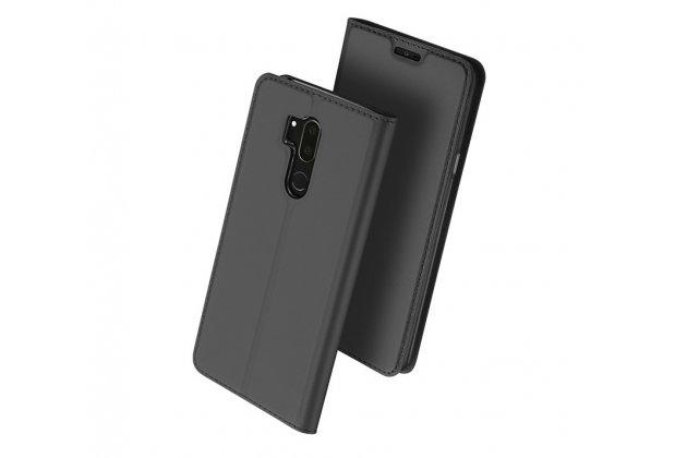 Фирменный чехол-книжка водоотталкивающий с мульти-подставкой на жёсткой металлической основе для LG G7 ThinQ / LG G7 серый