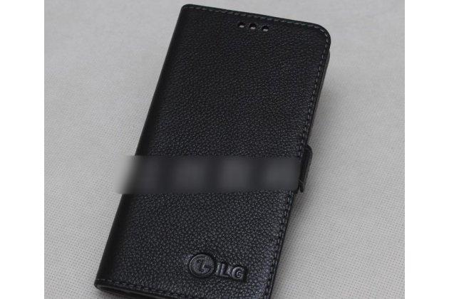 Фирменный оригинальный подлинный чехол с логотипом для LG G7 ThinQ / LG G7 из натуральной кожи черный