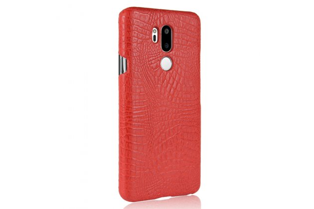 Фирменная роскошная элитная премиальная задняя панель-крышка на пластиковой основе обтянутая лаковой кожей крокодила  для LG G7 ThinQ / LG G7 красный
