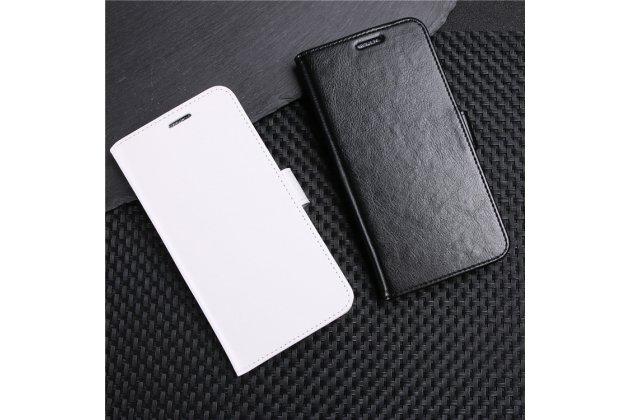 Фирменный чехол-книжка из качественной импортной кожи с подставкой застёжкой и визитницей для LG G7 ThinQ / LG G7 белый
