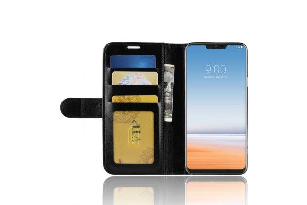 Фирменный чехол-книжка из качественной импортной кожи с подставкой застёжкой и визитницей для LG G7 ThinQ / LG G7 черный