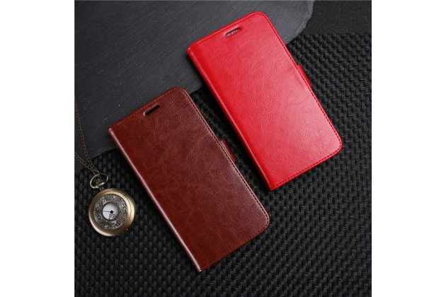 Фирменный чехол-книжка из качественной импортной кожи с подставкой застёжкой и визитницей для LG G7 ThinQ / LG G7 коричневый