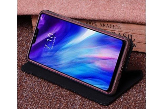 Фирменный роскошный эксклюзивный чехол с фактурной прошивкой рельефа кожи крокодила черный для LG G7 ThinQ / LG G7. Только в нашем магазине. Количество ограничено