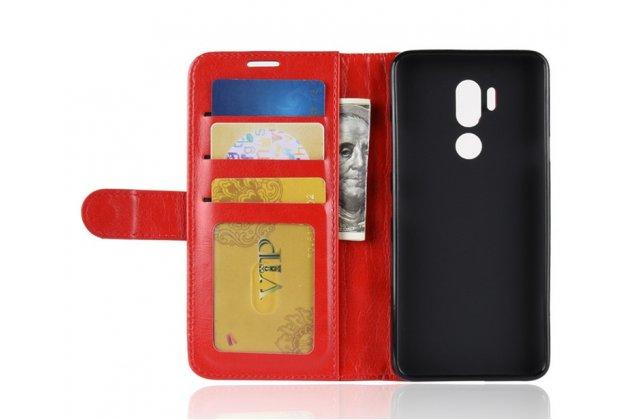 Фирменный чехол-книжка из качественной импортной кожи с подставкой застёжкой и визитницей для LG G7 ThinQ / LG G7 красный