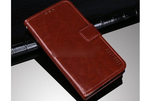 Фирменный чехол-книжка из качественной импортной кожи с подставкой застёжкой и визитницей для Alcatel 1C 5009D коричневый