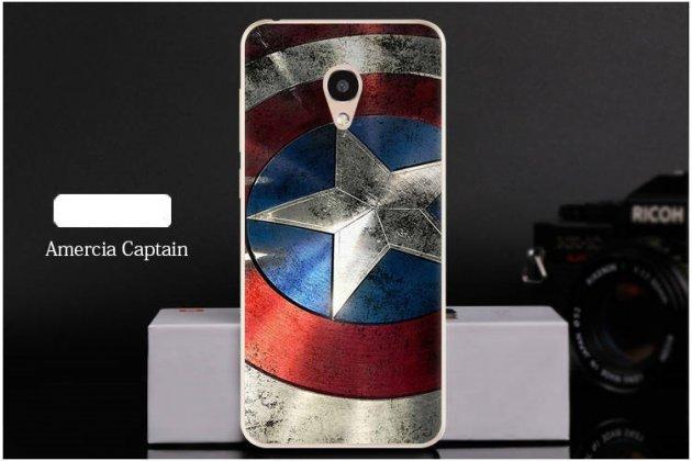 """Фирменная роскошная задняя панель-чехол-накладка  из мягкого силикона с безумно красивым расписным 3D рисунком на Alcatel 1C 5009D """"тематика Капитан Америка"""""""