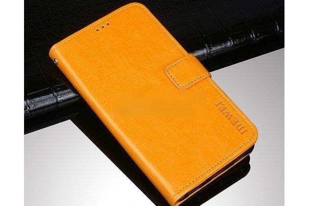 Фирменный чехол-книжка из качественной импортной кожи с подставкой застёжкой и визитницей для Alcatel 1C 5009D желтый