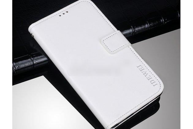 Фирменный чехол-книжка из качественной импортной кожи с подставкой застёжкой и визитницей для Alcatel 1C 5009D белый