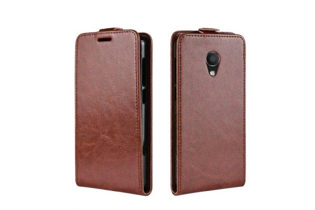 Фирменный оригинальный вертикальный откидной чехол-флип для Alcatel 1C 5009D коричневый из натуральной кожи Prestige