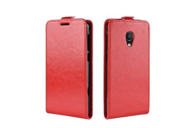 Фирменный оригинальный вертикальный откидной чехол-флип для Alcatel 1C 5009D красный из натуральной кожи Prestige