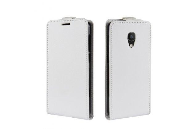Фирменный оригинальный вертикальный откидной чехол-флип для Alcatel 1C 5009D белый из натуральной кожи Prestige