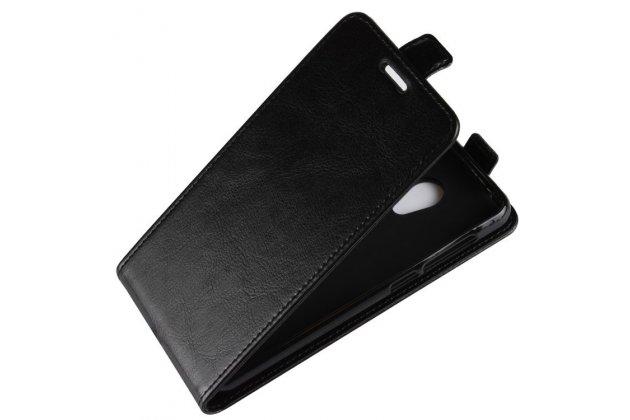 Фирменный оригинальный вертикальный откидной чехол-флип для Alcatel 1C 5009D черный из натуральной кожи Prestige