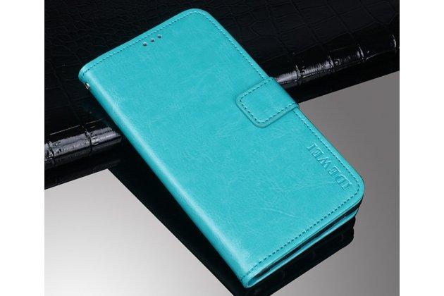 Фирменный чехол-книжка из качественной импортной кожи с подставкой застёжкой и визитницей для Alcatel 1X 5059D голубой