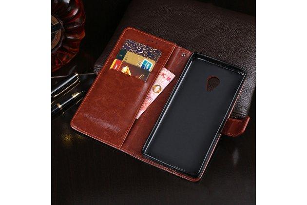Фирменный чехол-книжка из качественной импортной кожи с подставкой застёжкой и визитницей для Alcatel 1X 5059D коричневый