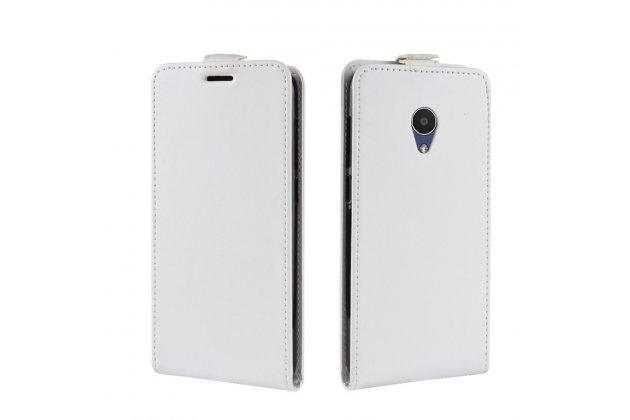 Фирменный оригинальный вертикальный откидной чехол-флип для Alcatel 1X 5059D белый из натуральной кожи Prestige