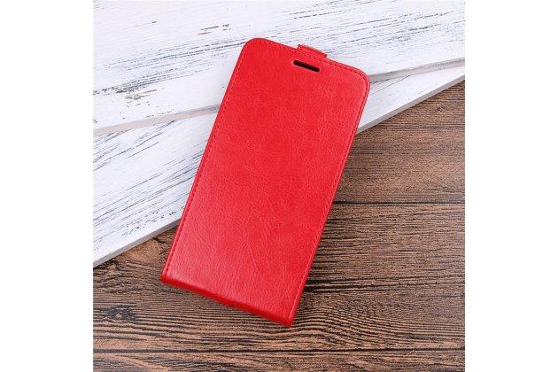 Фирменный оригинальный вертикальный откидной чехол-флип для Alcatel 1X 5059D красный из натуральной кожи Prestige