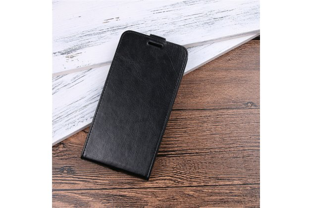 Фирменный оригинальный вертикальный откидной чехол-флип для Alcatel 1X 5059D черный из натуральной кожи Prestige