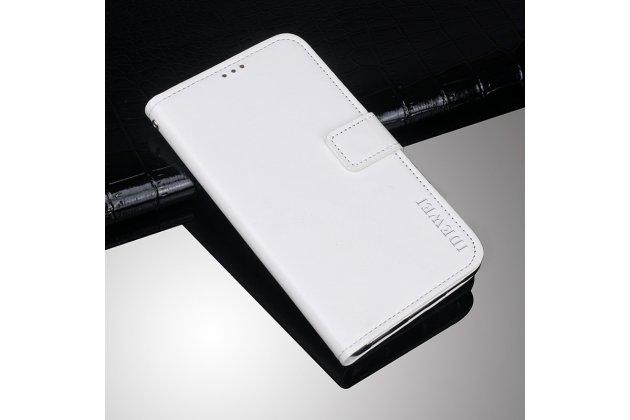 Фирменный чехол-книжка из качественной импортной кожи с подставкой застёжкой и визитницей для Alcatel 1X 5059D белый