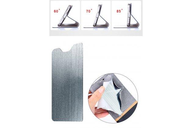Фирменный чехол-книжка водоотталкивающий с мульти-подставкой на жёсткой металлической основе для Alcatel 1X 5059D серый из настоящей джинсы