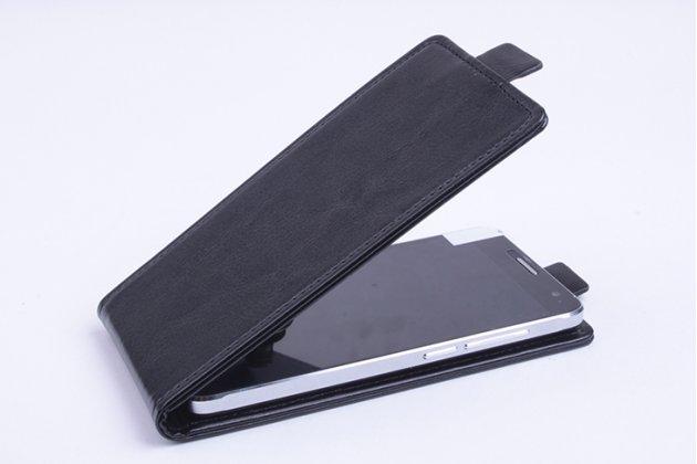 Фирменный оригинальный вертикальный откидной чехол-флип для Alcatel 3X 5058I черный из натуральной кожи Prestige