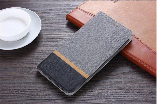 Фирменный чехол-книжка водоотталкивающий с мульти-подставкой на жёсткой металлической основе для ASUS Zenfone Live L1 ZA550KL (X00RD)/ G552KL серый из настоящей джинсы