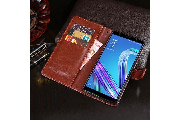 Фирменный чехол-книжка из качественной импортной кожи с подставкой застёжкой и визитницей для ASUS Zenfone Live L1 ZA550KL (X00RD)/ G552KL коричневый