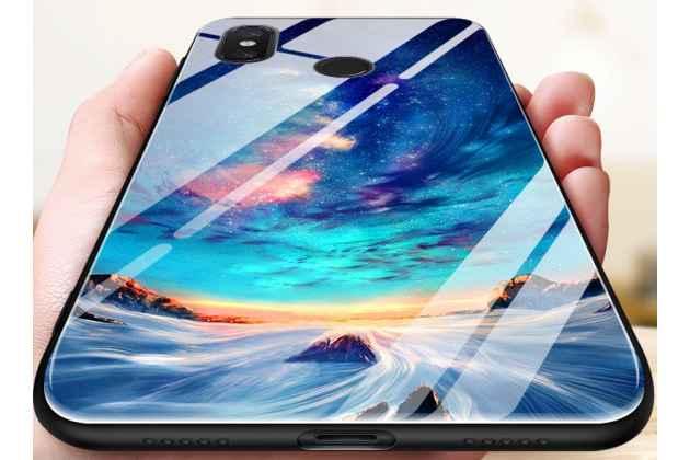 """Фирменный ультра-тонкий силиконовый чехол-бампер для Huawei Honor 8X Max (ARE-AL00) 7.12 с закаленным стеклом на заднюю крышку телефона тематика """"Звездная река"""""""