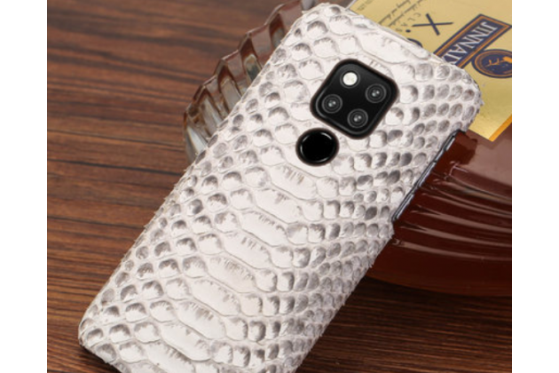 Фирменная элегантная экзотическая задняя панель-крышка с фактурной отделкой натуральной кожи змеи белого цвета для Huawei Mate 20 6.53. Только в нашем магазине. Количество ограничено.