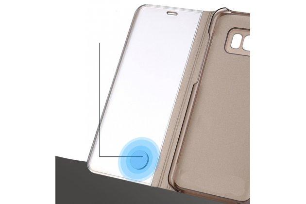 """Чехол-книжка с дизайном """"Clear View Standing Cover""""  полупрозрачный с зеркальной поверхностью для Huawei Mate 20 6.53 черный"""