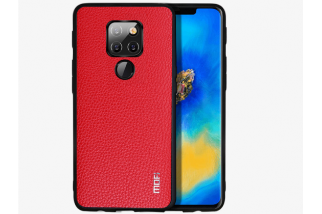 Фирменная роскошная задняя панель-крышка обтянутая импортной кожей для Huawei Mate 20 Pro / Mate 20 RS 6.39 красная