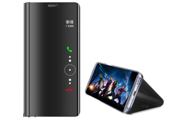 """Чехол-книжка с дизайном """"Clear View Standing Cover""""  полупрозрачный с зеркальной поверхностью для Huawei Mate 20 Pro / Mate 20 RS 6.39 черный"""