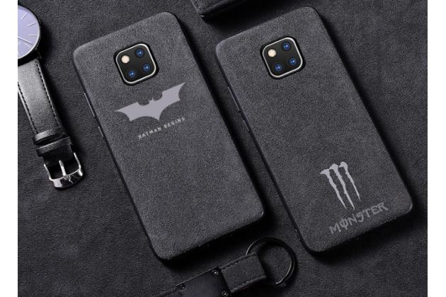 """Фирменная оригинальная задняя панель-крышка-накладка из замши для Huawei Mate 20 6.53 """"тематика Batman"""" серая"""