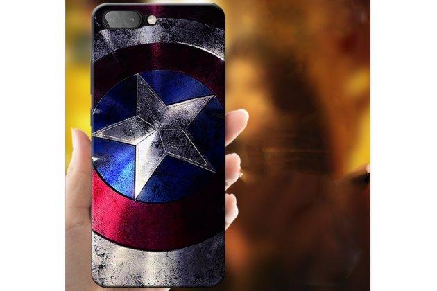 """Фирменная роскошная задняя панель-чехол-накладка  из мягкого силикона с безумно красивым расписным 3D рисунком на BlackBerry KEY2 """"тематика Капитан Америка"""""""