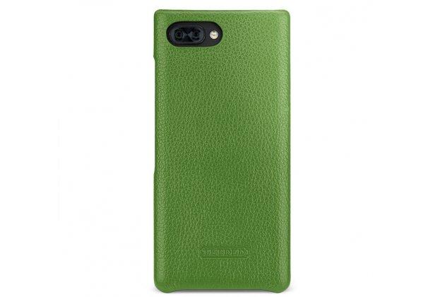 Фирменная премиальная элитная крышка-накладка из тончайшего прочного пластика и качественной импортной кожи для BlackBerry KEY2 зеленая