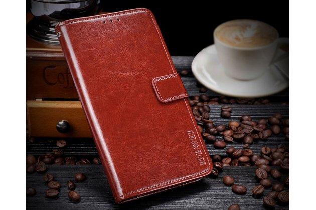 Фирменный чехол-книжка из качественной импортной кожи с подставкой застёжкой и визитницей для BlackBerry KEY2 коричневый
