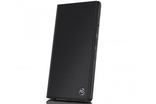 Фирменный оригинальный подлинный чехол с логотипом для BlackBerry KEY2 из натуральной кожи черный