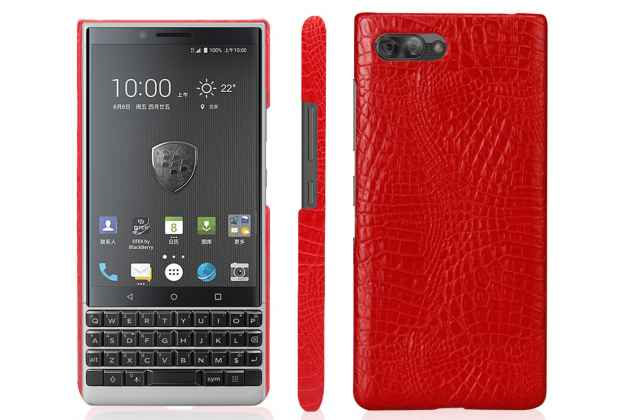 Фирменная роскошная элитная премиальная задняя панель-крышка на пластиковой основе обтянутая лаковой кожей крокодила  для BlackBerry KEY2 красный
