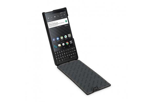 Фирменный оригинальный вертикальный откидной чехол-флип для BlackBerry KEY2 желтый из натуральной кожи Prestige