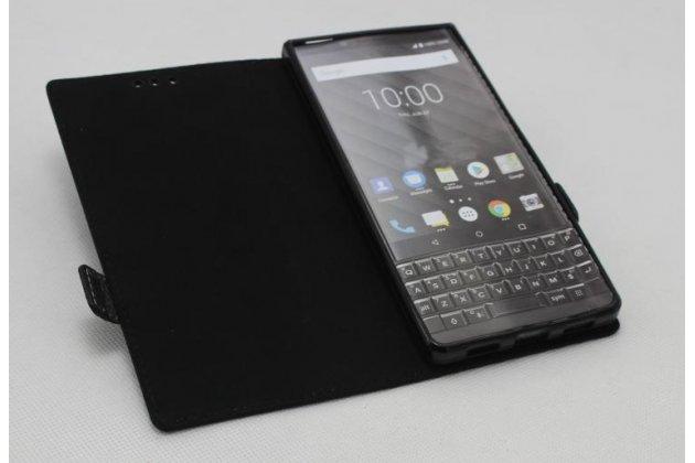 Фирменный оригинальный подлинный чехол с логотипом для BlackBerry KEY2 из натуральной кожи крокодила черный