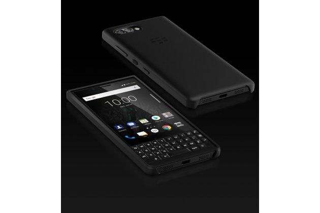 Фирменная оригинальная подлинная задняя панель-крышка с логотипом из мягкого качественного силикона для BlackBerry KEY2 Smart Wake черная