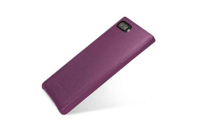 Фирменная премиальная элитная крышка-накладка из тончайшего прочного пластика и качественной импортной кожи  для BlackBerry KEY2 фиолетовая