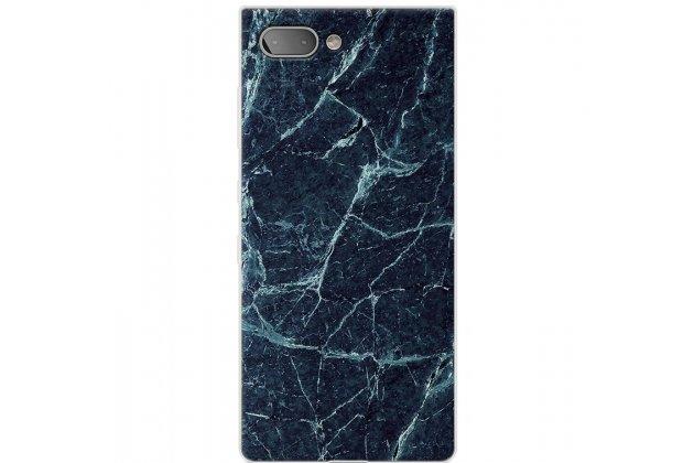 Фирменная из тончайшего прочного силикона задняя панель-крышка-накладка с рисунком под мрамор для BlackBerry KEY2  цвет малахит
