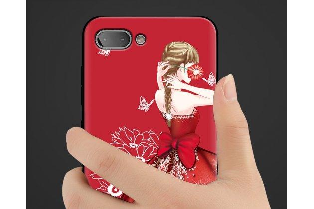 """Фирменная роскошная задняя панель-чехол-накладка  из мягкого силикона с безумно красивым расписным 3D рисунком на BlackBerry KEY2 """"тематика Красное платье"""""""