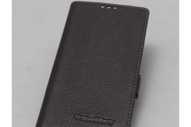 Фирменный оригинальный подлинный чехол с логотипом для BlackBerry KEY2 из натуральной кожи темно-коричневый