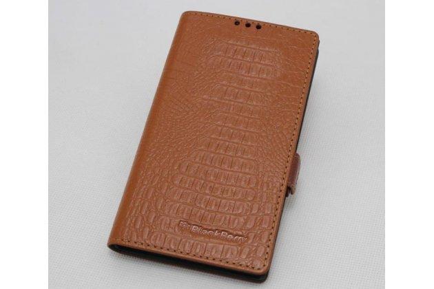 Фирменный оригинальный подлинный чехол с логотипом для BlackBerry KEY2 из натуральной кожи крокодила светло-коричневый